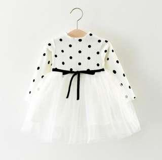 🚚 🌟PM for price🌟 🍀Baby Girl Long Sleeves Dots Tutu Dress🍀