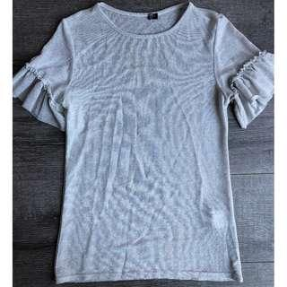 MADE IN ITALY DESIGNER SILVER GREY METALLIC BLOUSE TOP RUFFLE
