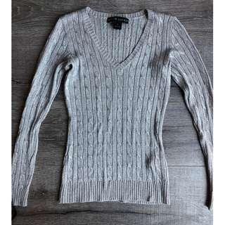 RALPH LAUREN SILVER METALLIC GREY CABLE KNIT FITTED JUMPER $500