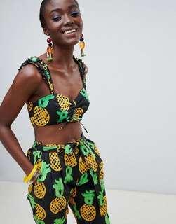ASOS Made In Kenya x Julie Adenuga Crop Top in Pineapple Print