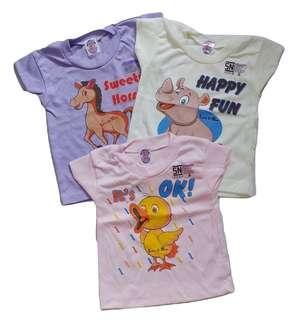 Jelova 3pcs Kaos Oblong 3-12BULAN Moms for baby Girls