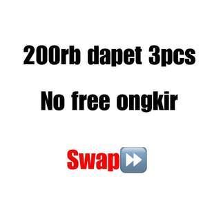 200rb dpt 3pcs, tinggal pilih. No free ong no nego2. Fix langsung kirim foto ke chat.
