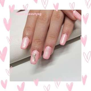 Pink Glitter with Charms