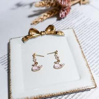 Earrings  | Crystal Dolphin Earrings in Pink