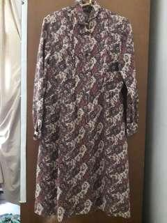 Preloved Brown vintage dress long sleeve