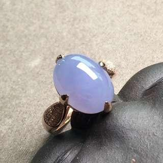 Highly icy lavender cabochon gold ring