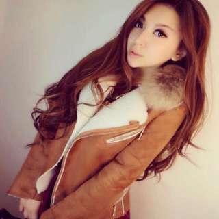 真毛領麂皮內鋪絨超保暖外套 顯瘦 厚外套 大衣 麂皮外套 翻領外套