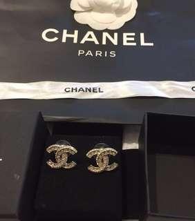 Authentic Chanel Medium CC LOGO Earrings