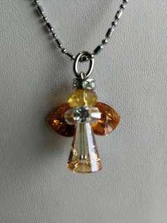 Golden Crystal Angel Necklace Swarovski Stainless Steel Chain