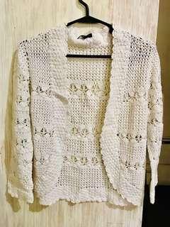 White short length Crochet Cardigan