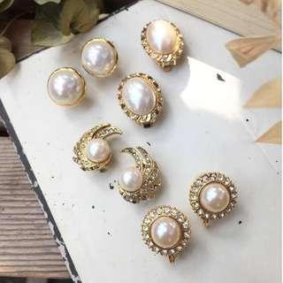 Skin&Moss Vintage復古耳環優雅姿態復古華麗仿珠系列耳夾日本珍珠仿製珍珠耳夾