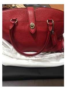 Coach專櫃購入-時尚真皮單肩手提兩用包 中號 紅色