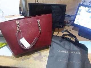 Charles & Keith Authentic / Original Red Totebag / Shopper / Tote Bag / Tas