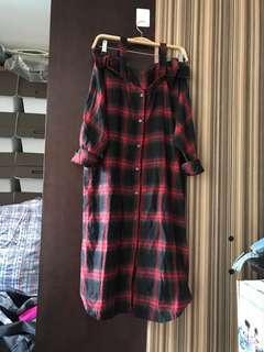 全新 韓國制 文青 紅黑格仔 兩著 露膊吊帶 恤衫 長身 連身裙