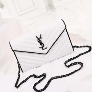 YSL bag Black and white caviar leather shoulder bag