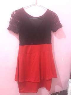 dress merah brukat Bisa Melar baju imlek