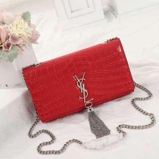 YSL bag  Red crocodile skin tassel bag