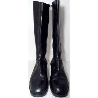 Roc Women's Black Leather Long Riding Style Zip Up Boots   Size AU 7/UK 5