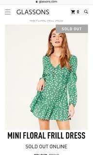 Glassons mini frill long sleeve dress worn once sold out