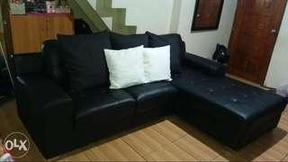 L shape lether sofa
