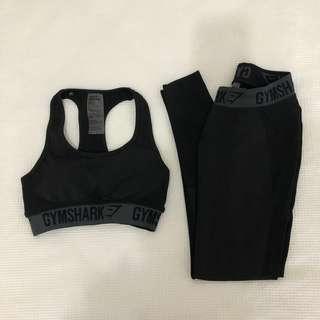 GYMSHARK Flex Black Leggings and Sports Bra