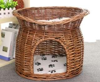 BNIB $39.90 FREE DELIVERY CAT RATTAN BASKET NEST BED NON-TOXIC