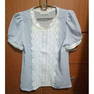Blue gingham top with lace