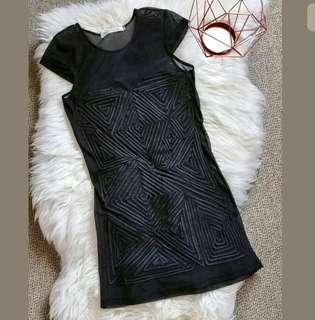 MOSSMAN sz 6 black see through embroided textured women dress sexy party club