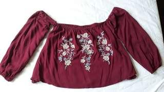 Red Wine Off The Shoulder Top #POST1111