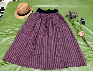 MIX IT Brand Long Maroon Black and Gray striped Skirt