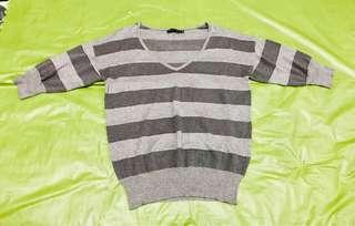 The Limited brand Grey Striped Blouse