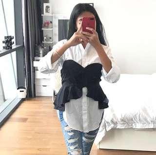 H&M white shirt bustier