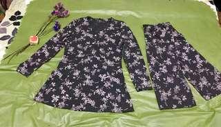 Dark Grey Floral Prints Long Sleeves Blouse