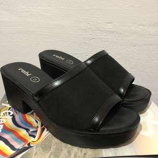 Black Chunky Wedges Heels Sandals