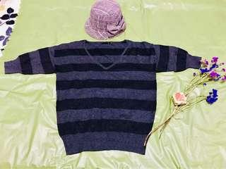 The Limited Black and Dark Grey Striped Blouse