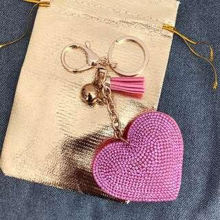 Brand new pink heart shaped key chain with tassel