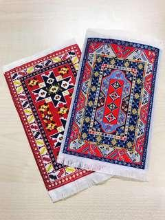 Mini Embroidered Rug (Blue or Red)