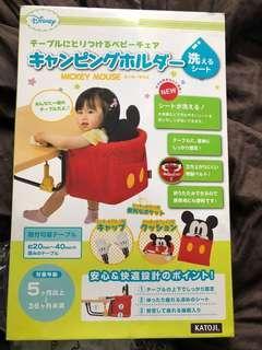 日本Katoji Mickey Mouse米奇幼兒外出便攜式餐椅座椅