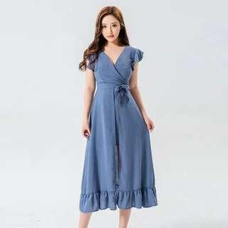 Bn Ruffles Sleeve V Neck Midi/Maxi Dress