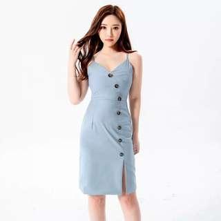 Bn V Neck Slit Front Bodycon Dress