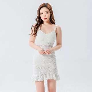 Bn Spaghetti V Neck White Crochet Bodycon Dress