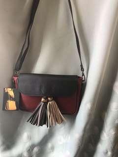 韓國紅黑拼色民族袋 輕便細袋 斜揹袋
