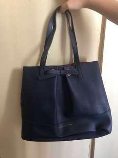 🈹韓國深藍色大容量袋 萬用袋 少女包