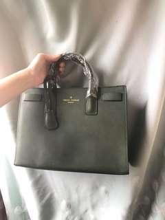 韓國墨綠色方形袋 返工袋 公事包 包包