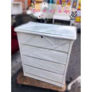大同二手家具 質感白色四抽櫃、收納櫃  家具出清買賣