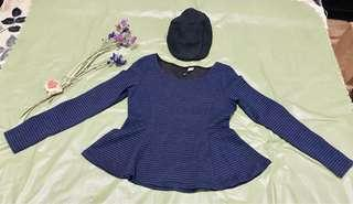 Divided by H&M Navy Blue and Black Striped Blouse