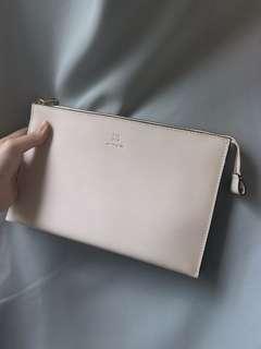 韓國白色三用袋 手拿包 側揹 斜揹 附斜揹帶