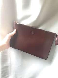 韓國啡色三用袋 手拿包 側揹 斜揹 附斜揹帶