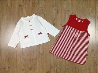 純棉女童外套+背心裙子(兩件套)