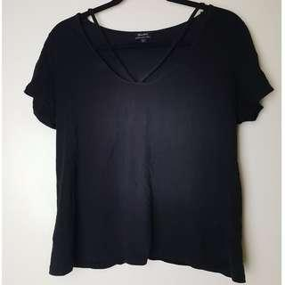 Bardot Black Tee with Front Straps
